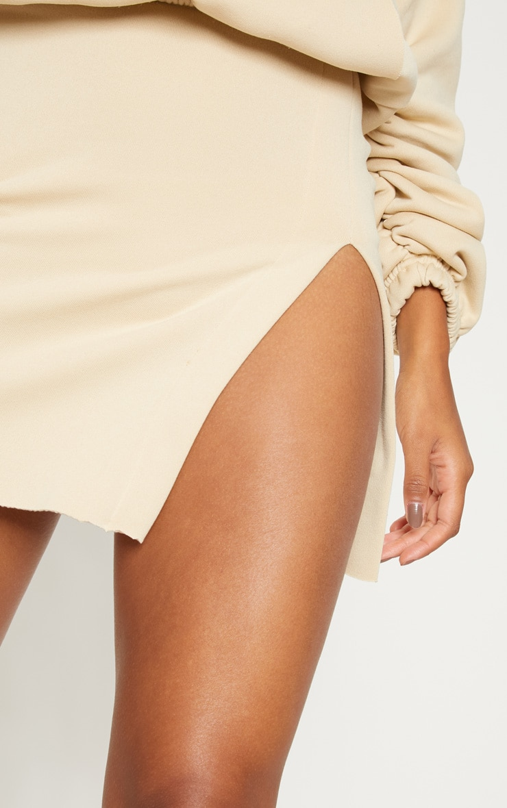 Cream Split Sweat Detail Mini Skirt 5