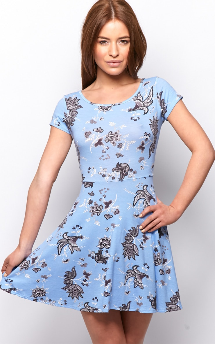 Maddie Blue Paisley Skater Dress 1