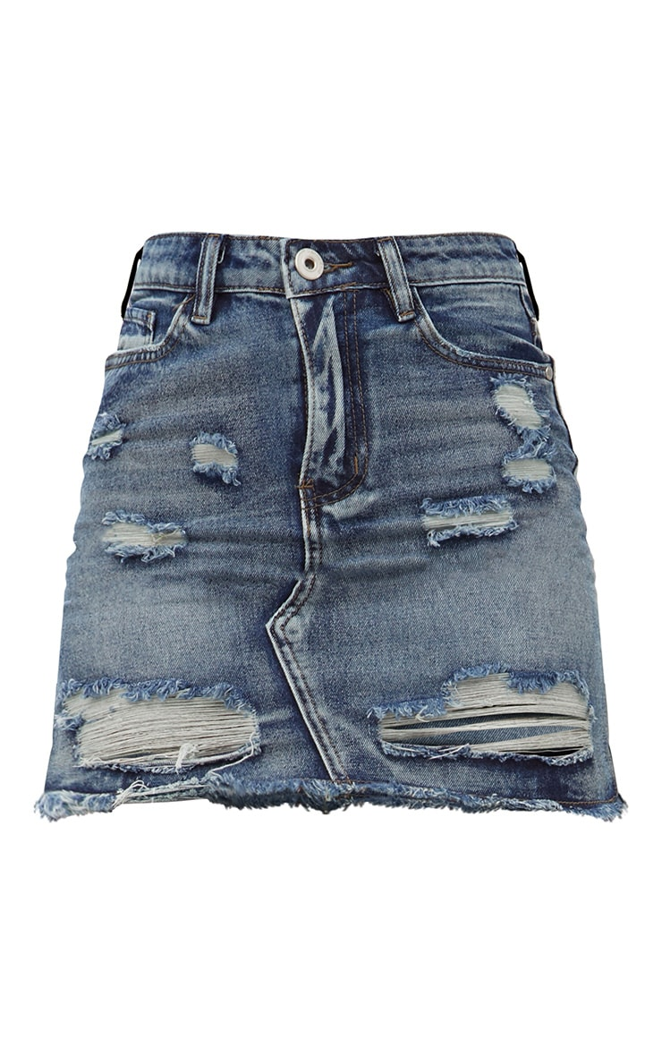 Vintage Wash Distressed Rip Denim Mini Skirt 3