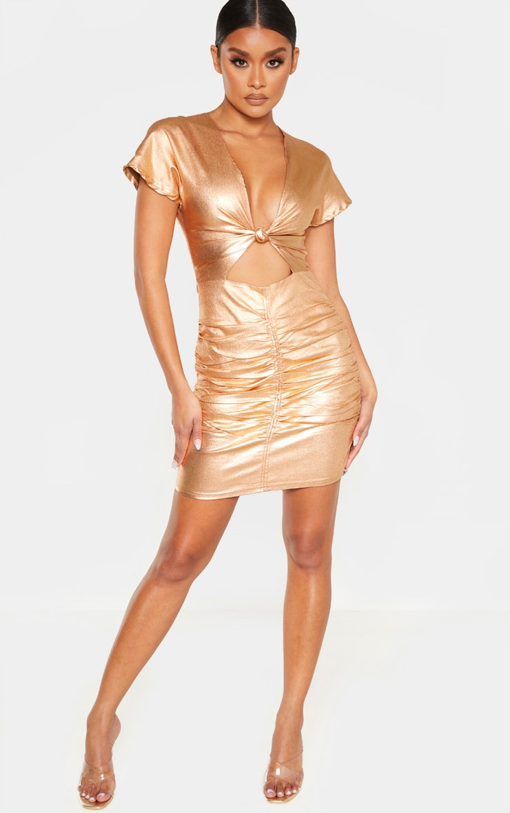 Bronze Metallic Cut Out Ruched Bodycon Dress 4