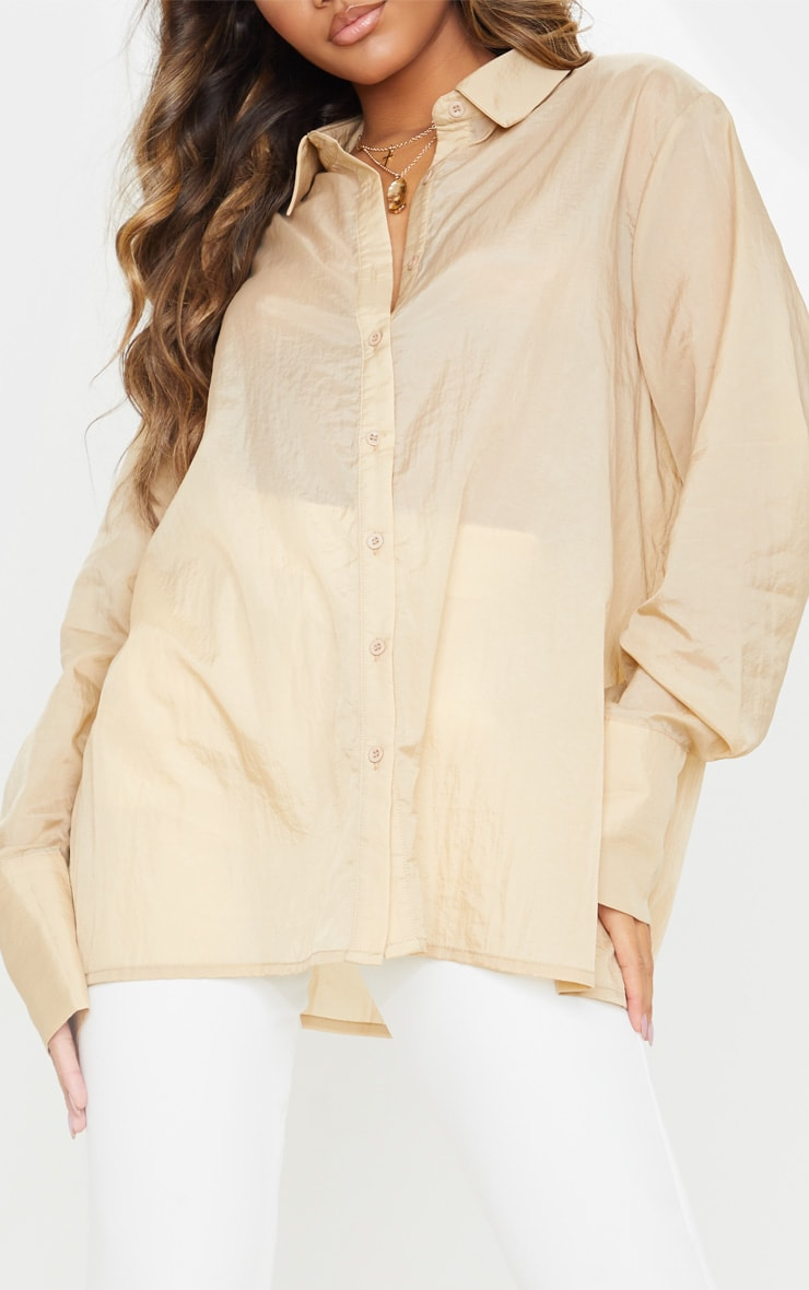 Sand Sheer Oversized Cuff Shirt 5