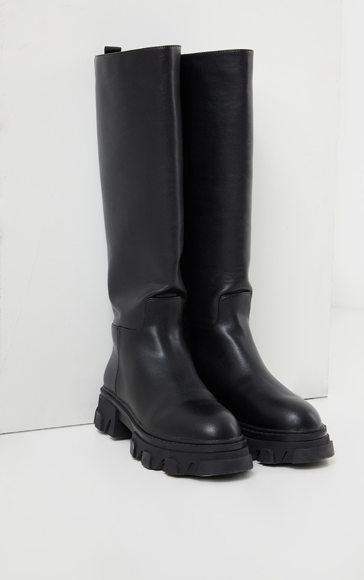 Black Extreme Cleated Sole Calf High Wellie Boots 4