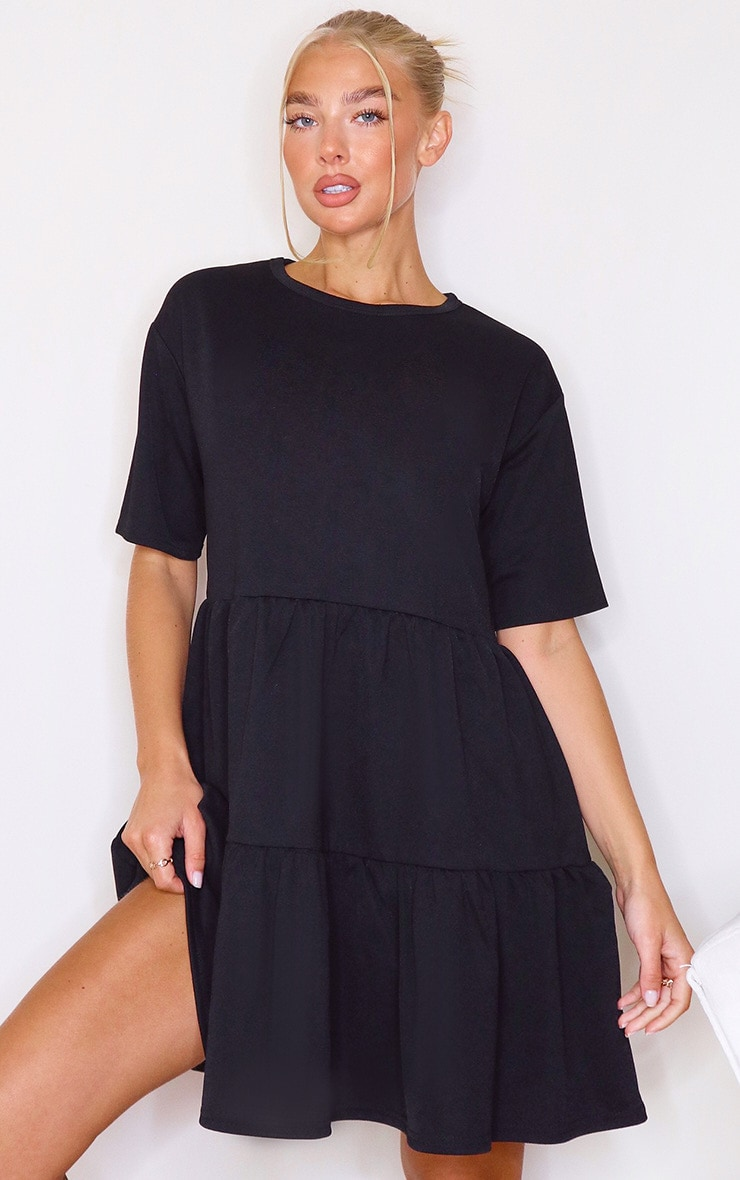 Black Tiered Short Sleeves Smock Dress 1