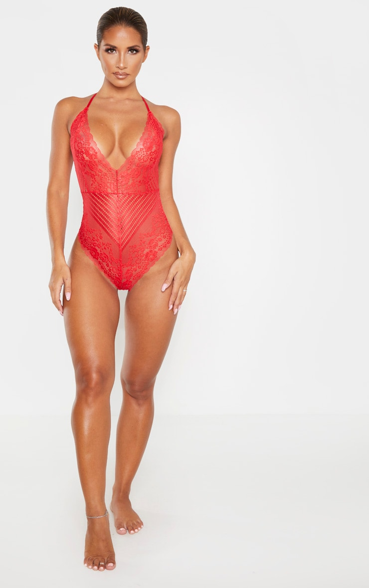 Red Mixed Delicate Lace Body 4