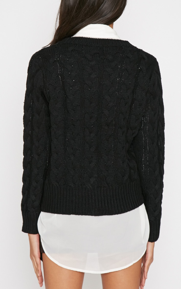 Tara Black Cable Knit Sweater  2