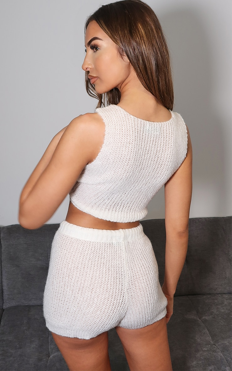 Cream Cosy Knitted Bralet And Short Set 2