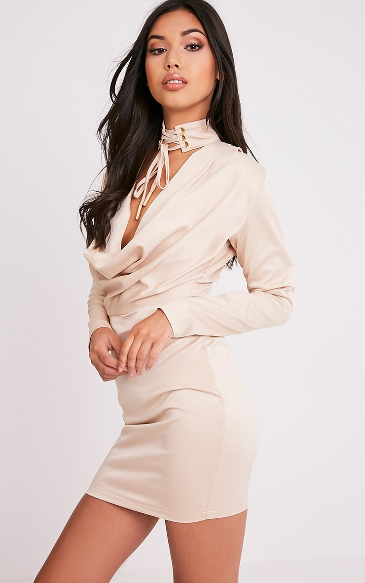 Chrissie Champagne Lace Up Satin Bodycon Dress 4