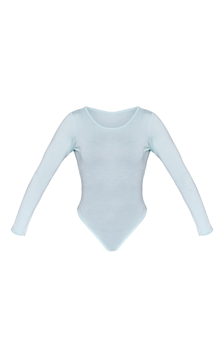 Basic Mint Crew Neck Long Sleeve Bodysuit 5