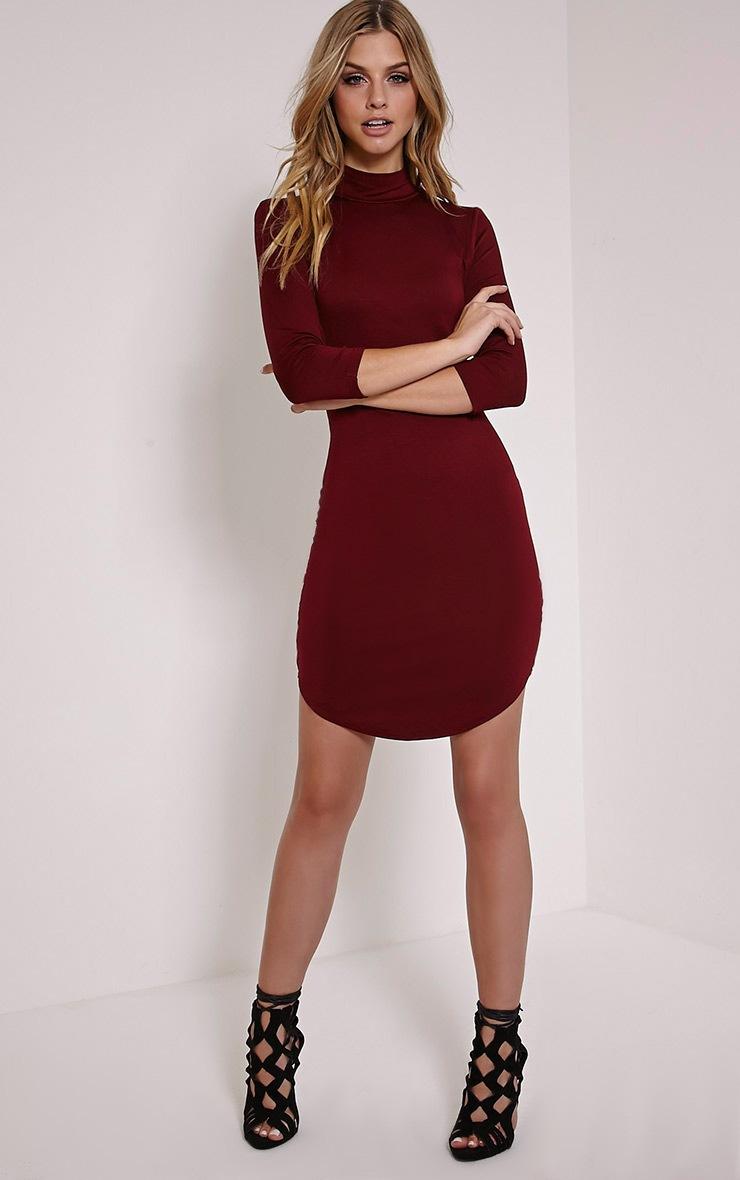 Alby Burgundy 3/4 Sleeve Curve Hem High Neck Dress 3