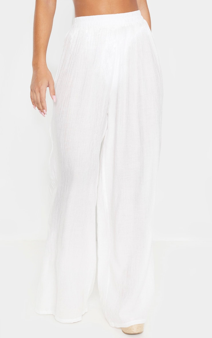Ecru Wide Leg Beach Floaty Trouser 2