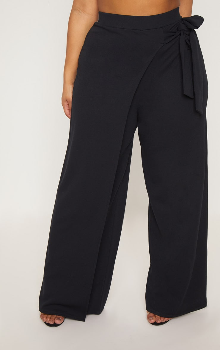 Plus Black Wrap Detail Extreme Wide Leg Pants 2