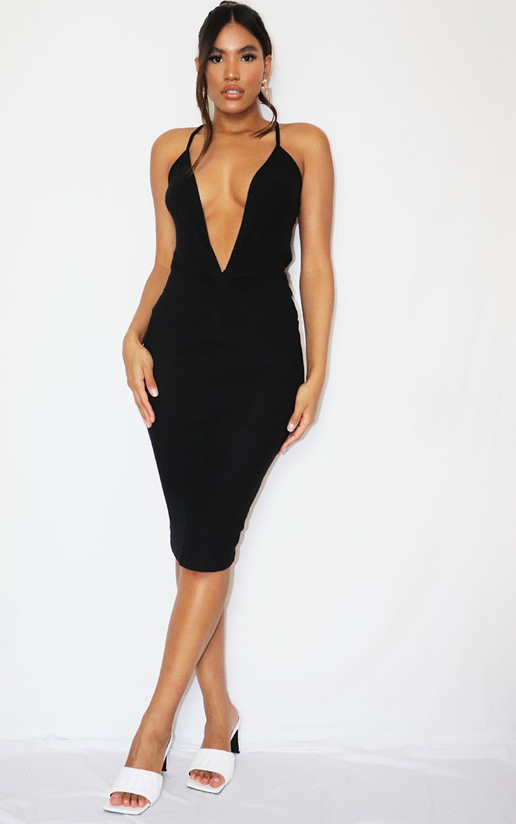 Black Brushed Rib Twist Front Plunge Midi Dress 1