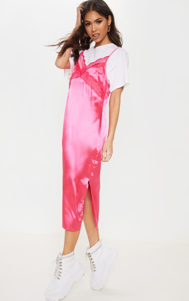 Hot Pink Lace Trim Midi Shift Dress 4