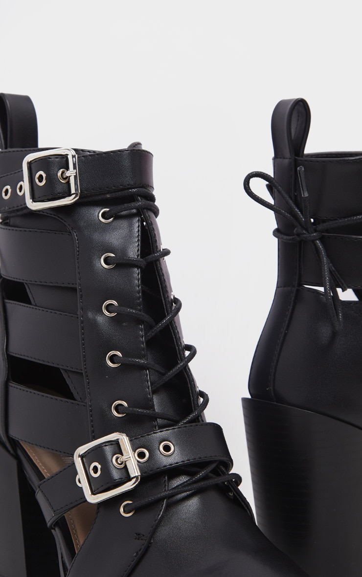Black Cut Out Heel Boot 4