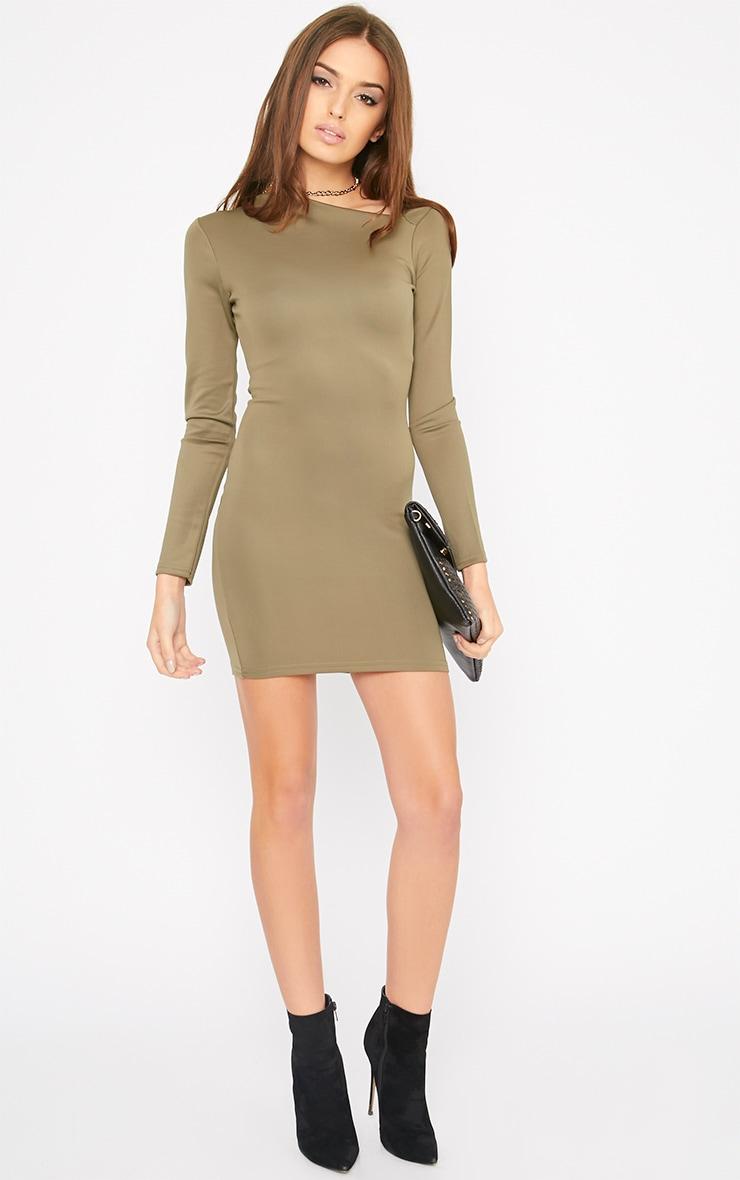 India Khaki Slash Neck Bodycon Dress 5