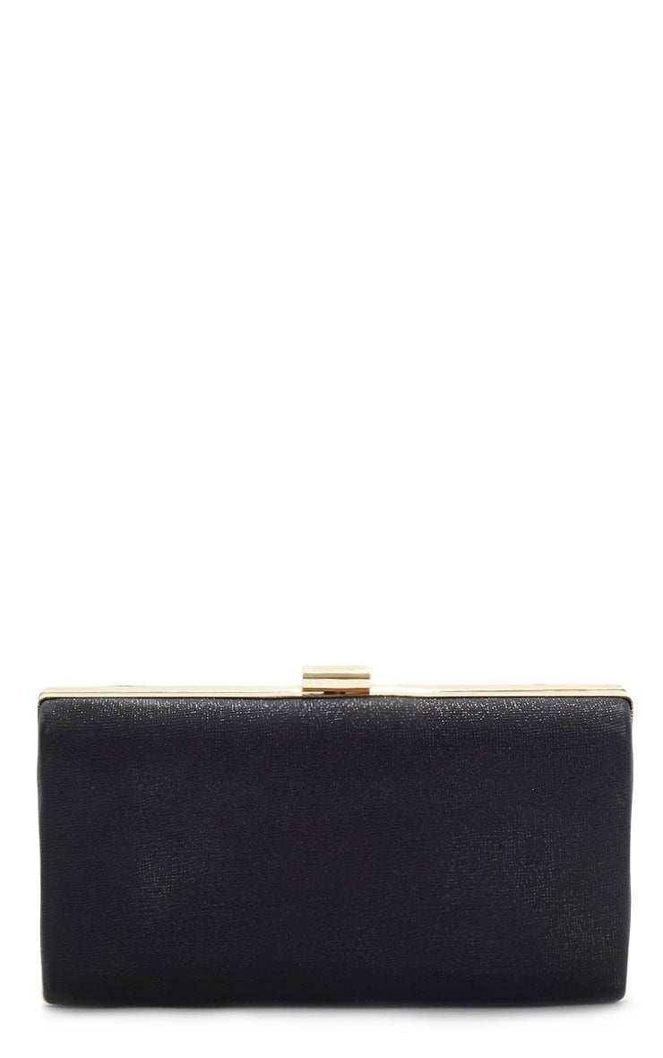 Jeanie Black Gold Frame Clutch Bag 1