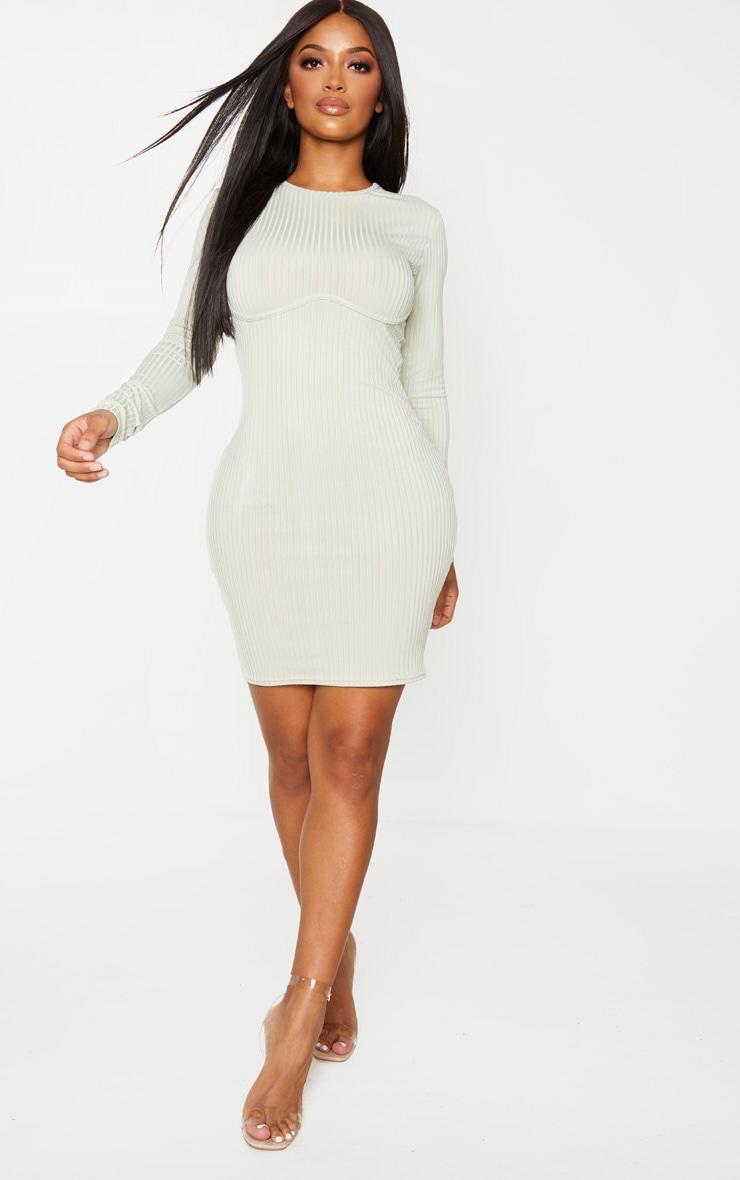 Shape Sage Khaki Rib Underbust Detail Bodycon Dress 3