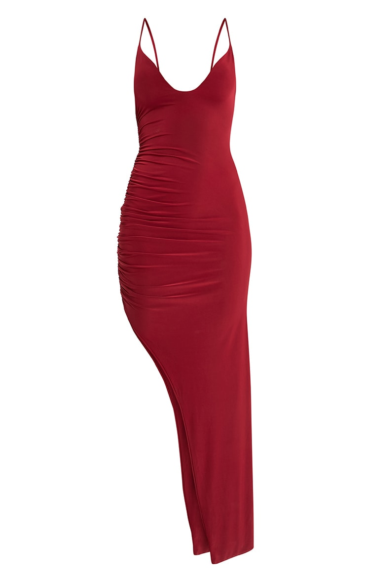 Albian Burgundy Strappy Ruched Maxi Dress 3