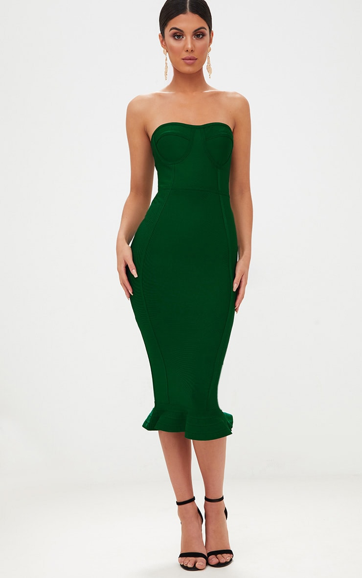 Emerald Green Bandage Frill Hem Midi Dress
