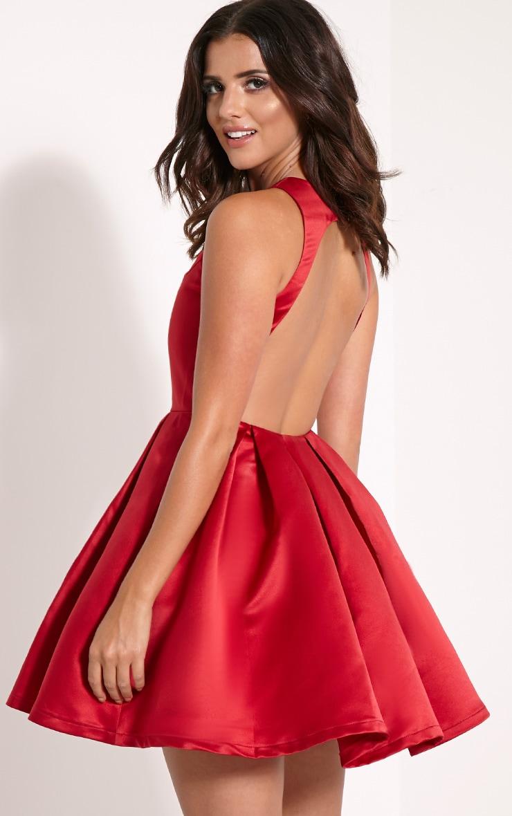 d59c18123633 Deborah Red Backless Skater Dress image 1