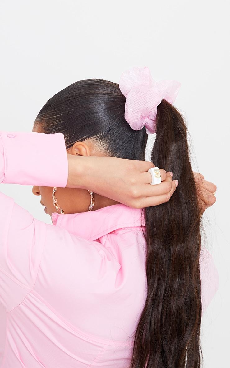 Pink Check Mesh Scrunchie 1