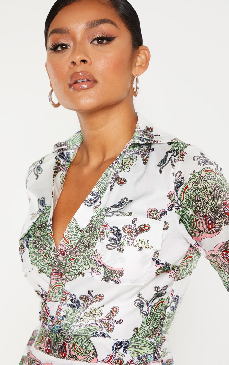 White Paisley Print Plunge Satin Bodycon Dress 5