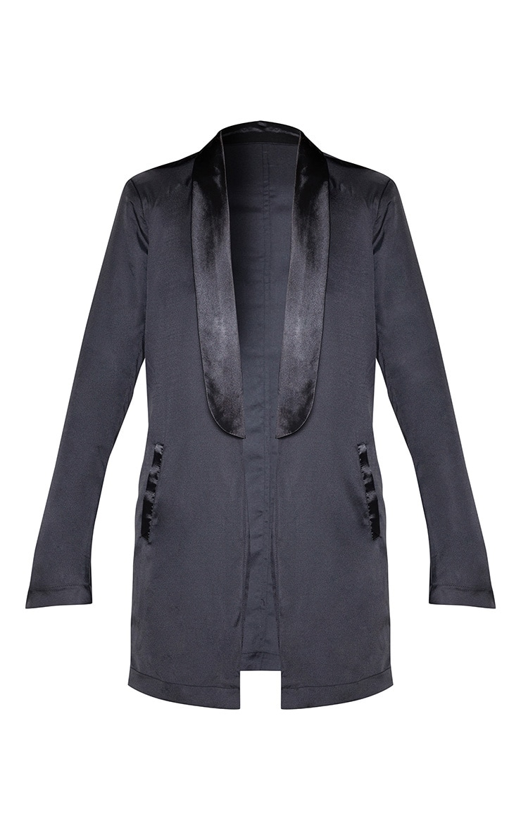 Black Satin Lapel Longline Blazer 4