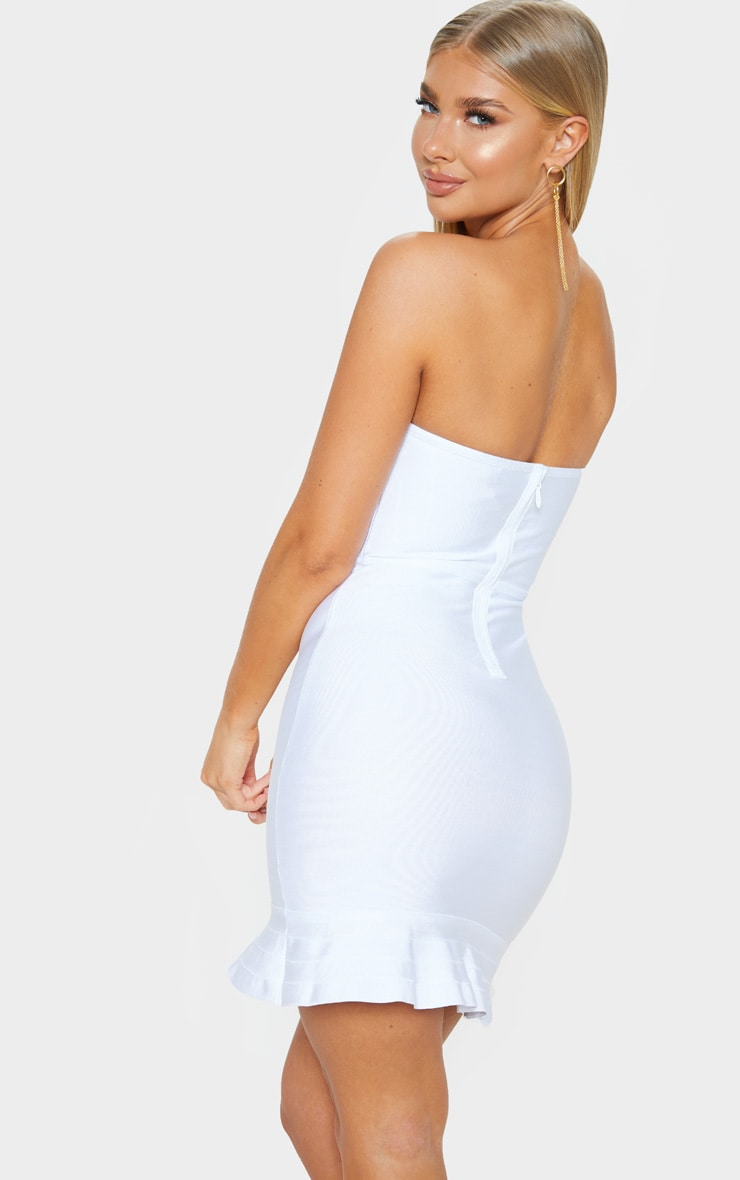 Presli White Bandage Frill Hem Bodycon Dress 2
