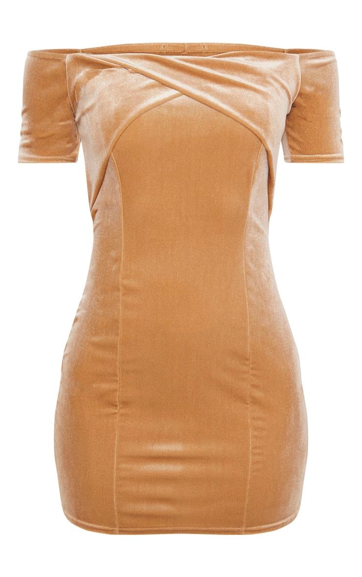 Champagne Velvet Twist Front Short Sleeve Bodycon Dress 3