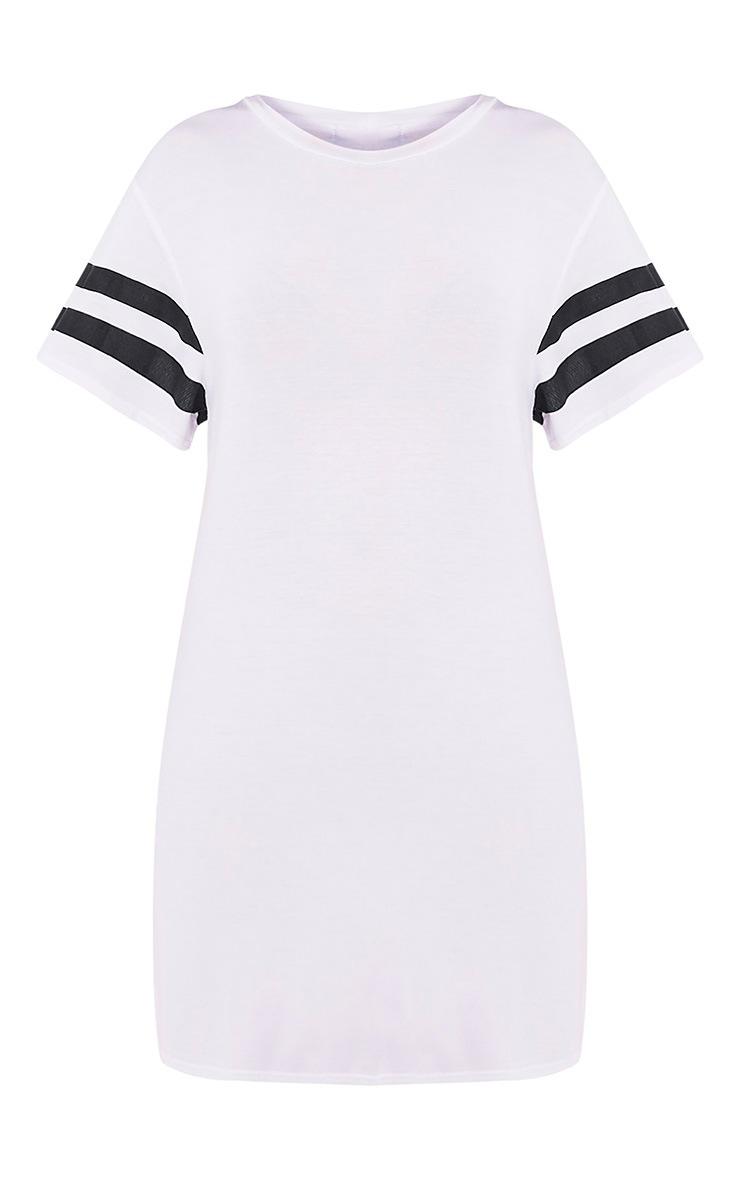 Neekha White Striped Sleeve T-Shirt Dress 3