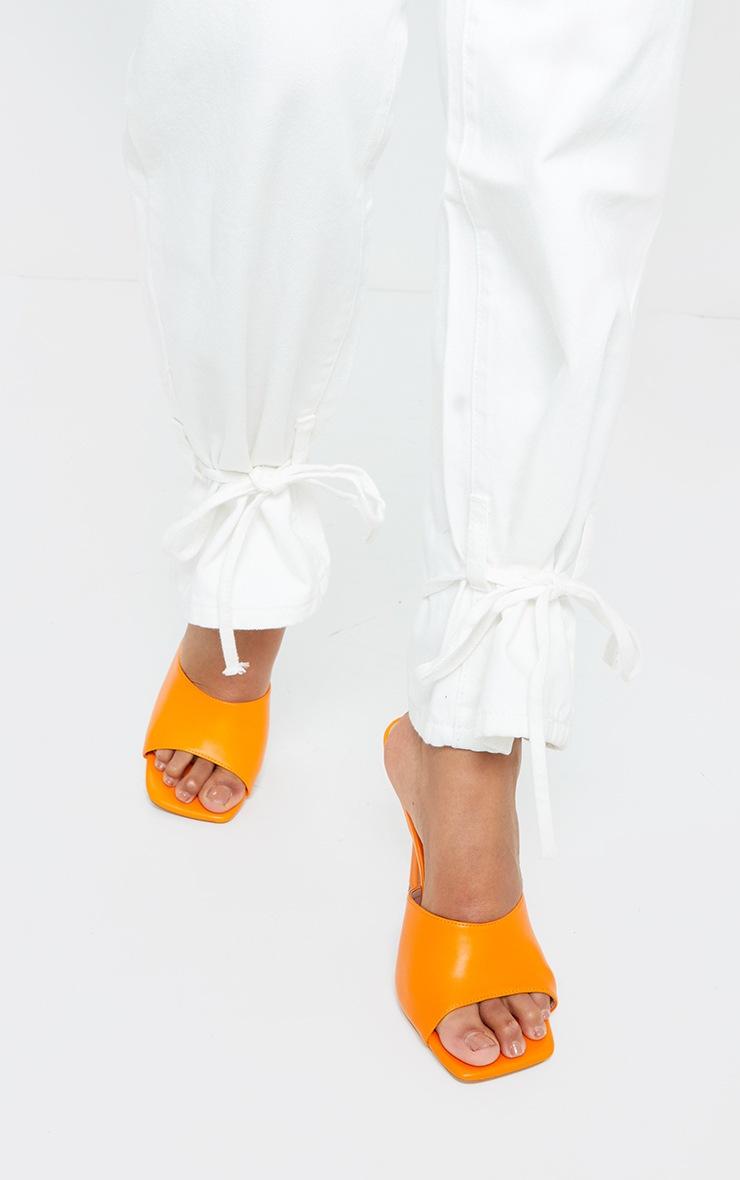 Orange Square Toe Mule High Heels 2
