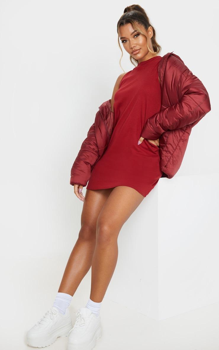 Burgundy Sleeveless Oversized T Shirt Dress 4