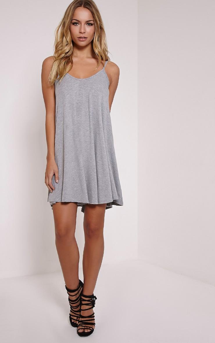 b991d48b1dd9 Basic Grey Marl Strappy Jersey Swing Dress image 4
