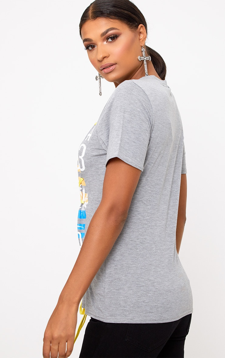 Grey Marl Slogan Print Contrast Lace Up T Shirt 2