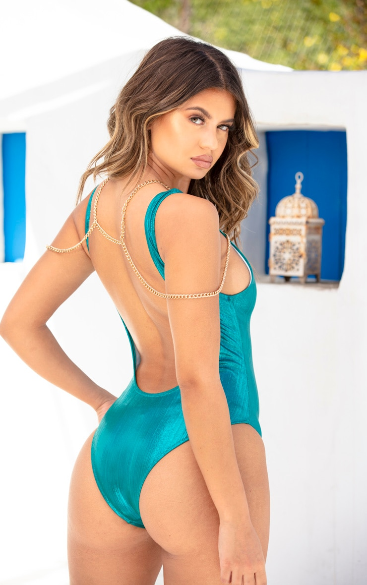 Blue Metallic Harness Chain Swimsuit 4
