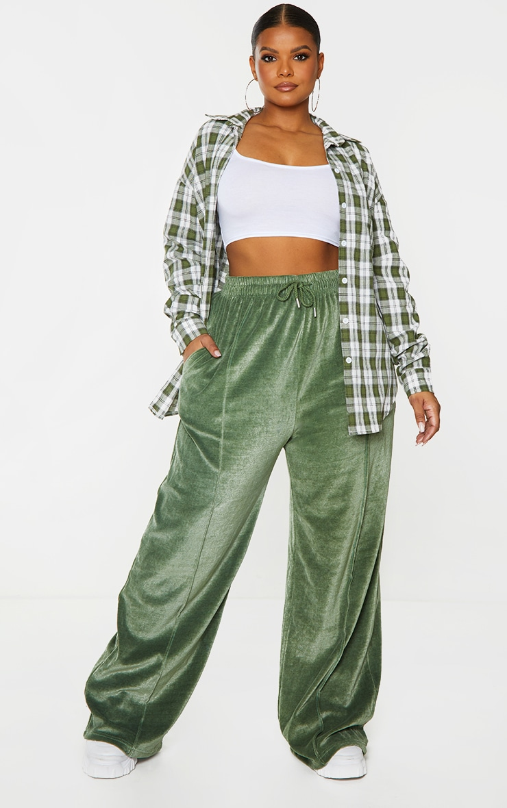 Plus Olive Towelling Wide Leg Joggers 1