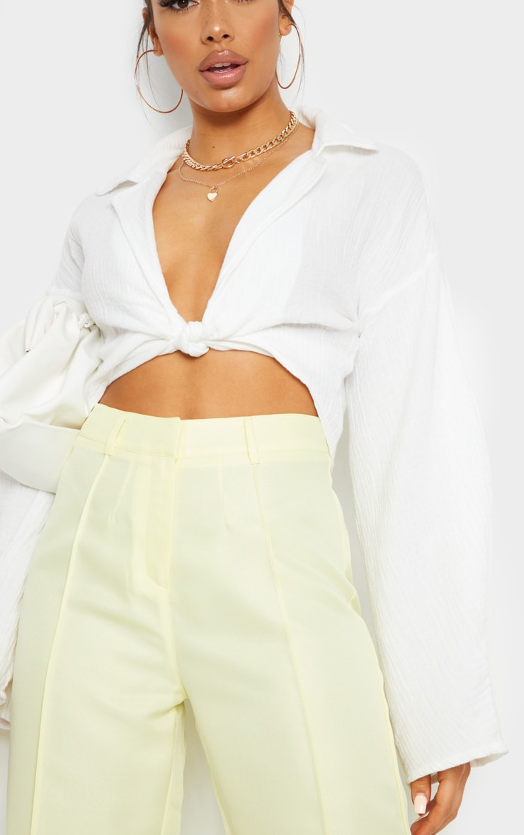 Pale Yellow Anala High Waisted Straight Leg Pants 4