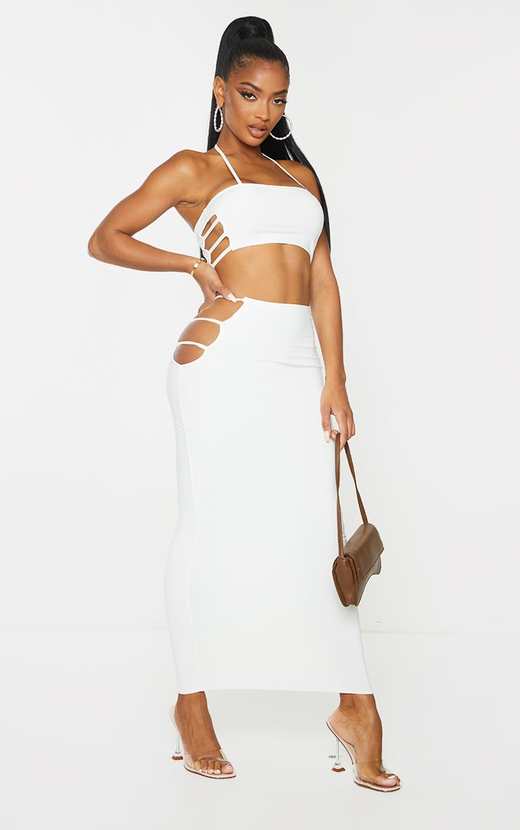 Shape Cream Slinky Cut Out Side Crop Top image 3