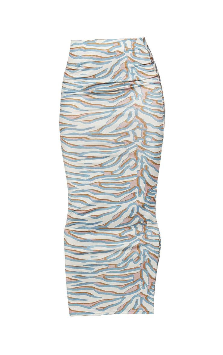 Cream Zebra Print Slinky Midaxi Skirt 5