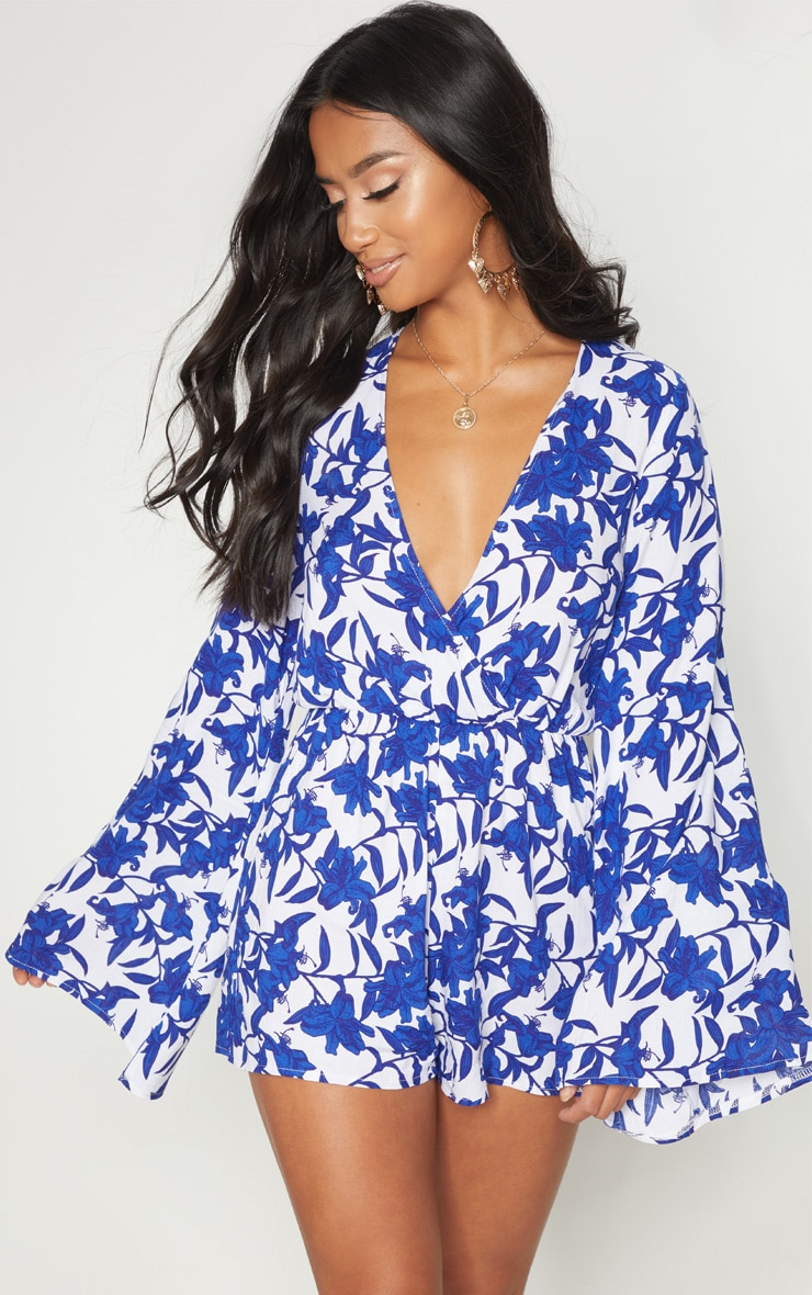 Petite Blue Flare Sleeve Plunge Playsuit 1