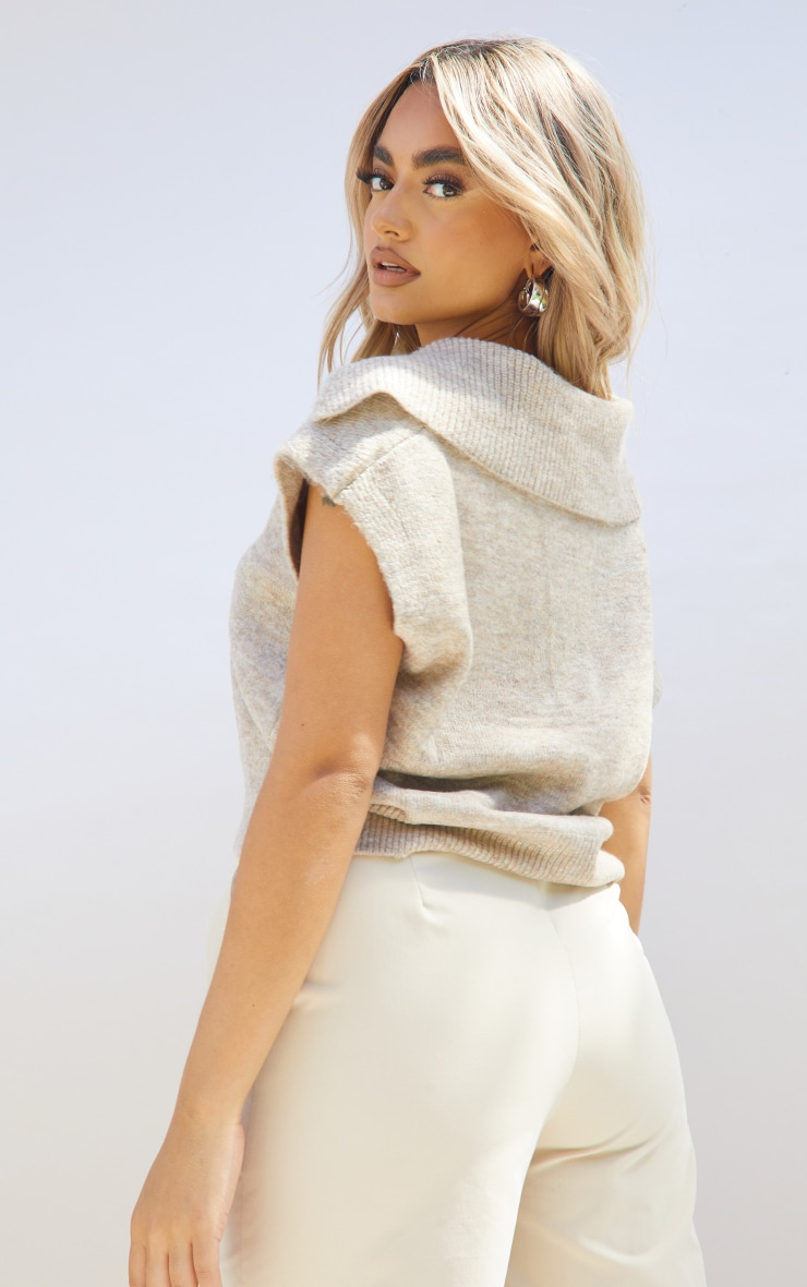 Petite Oatmeal Soft Collared Knitted V Neck Vest 2
