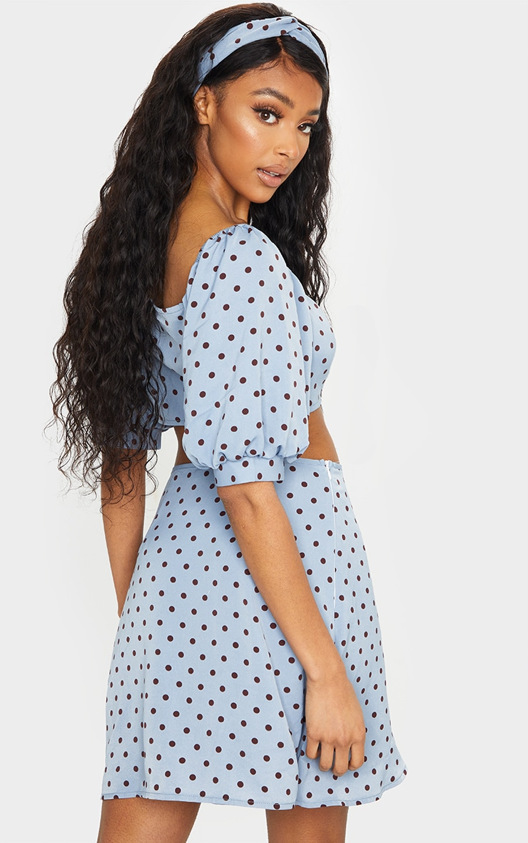 Blue Polka Dot Print Bardot Puff Sleeve Crop Top 2