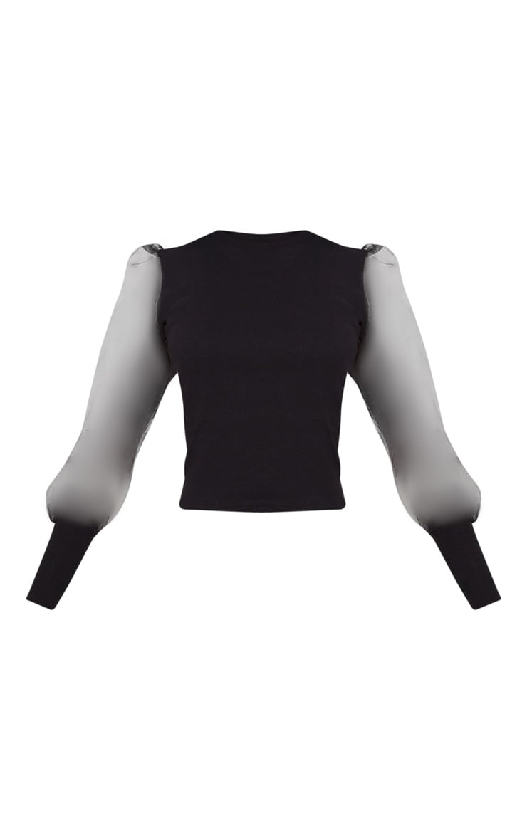 Black Rib Puff Sleeve Organza Top 3