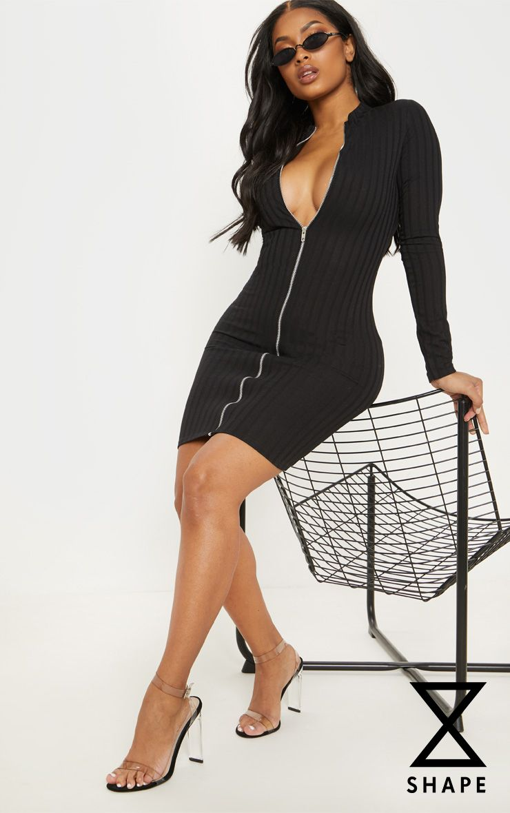 Shape Black Ribbed Zip Front Bodycon Dress 1