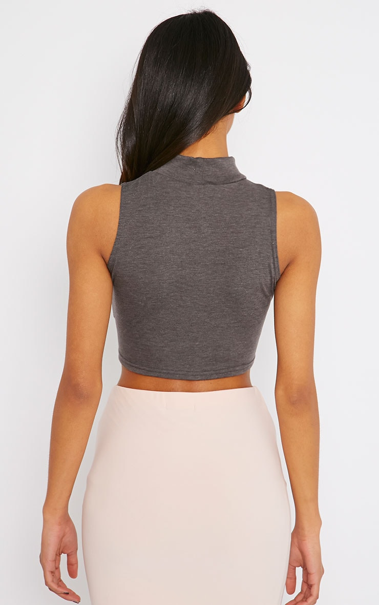 Basic Charcoal Jersey High Neck Crop Top 2