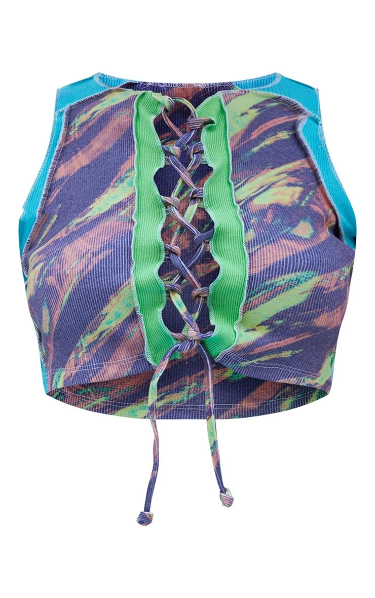 Aqua Rib Contrast Panel Printed Lace Up Crop Top 5