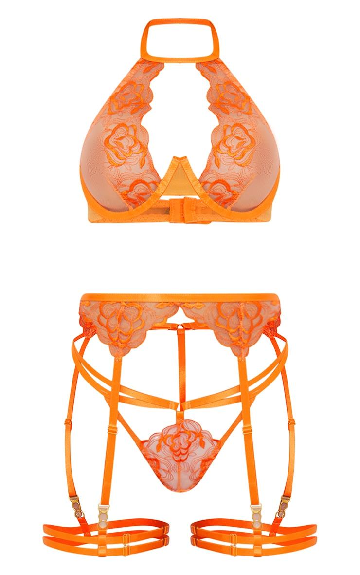 Orange Floral Emboridered Halterneck 3 Piece Lingerie Set 5