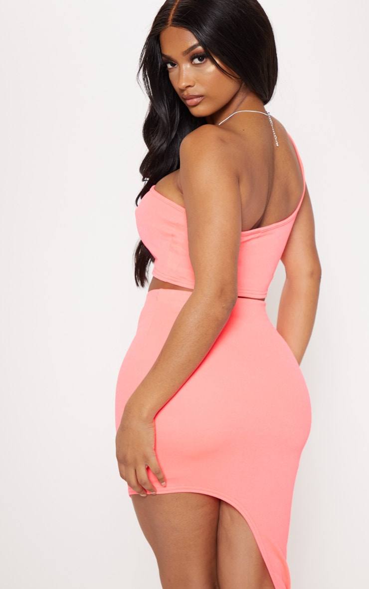 Shape Neon Pink Seam Detail One Shoulder Crop Top 2