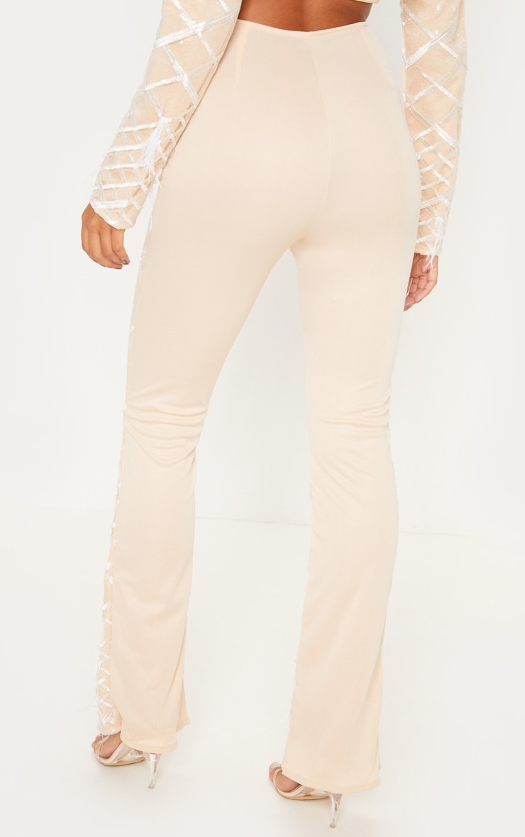Nude Embroidered Sequin Flared Pants 4