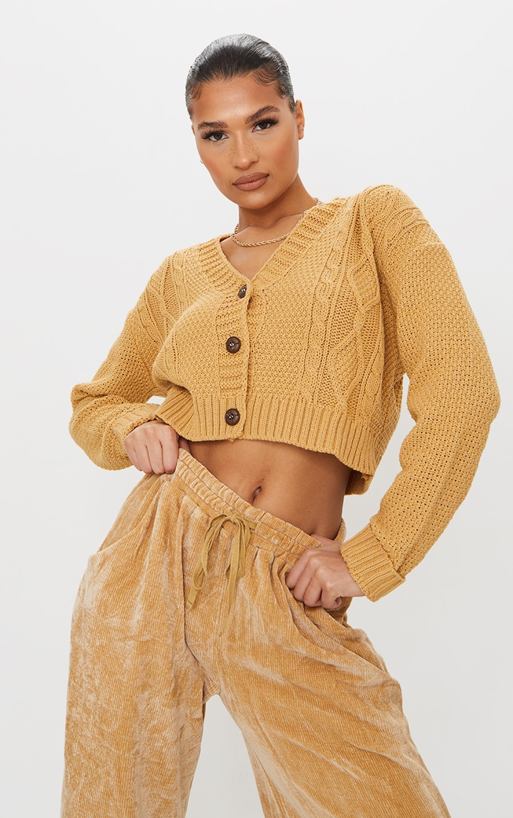 Camel Cable Cropped Cardigan 1